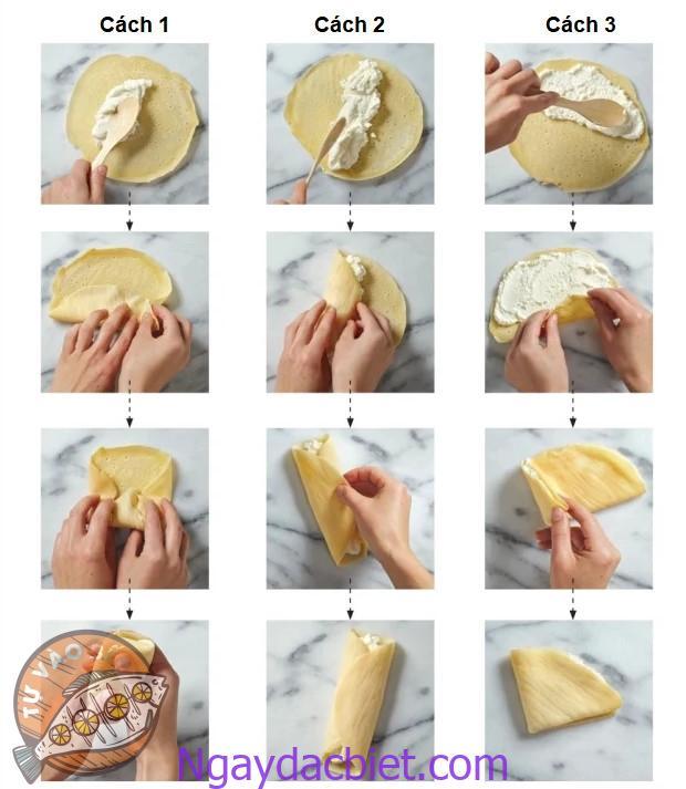 3 cách cuốn bánh: hình gối, gói nem và tam giác
