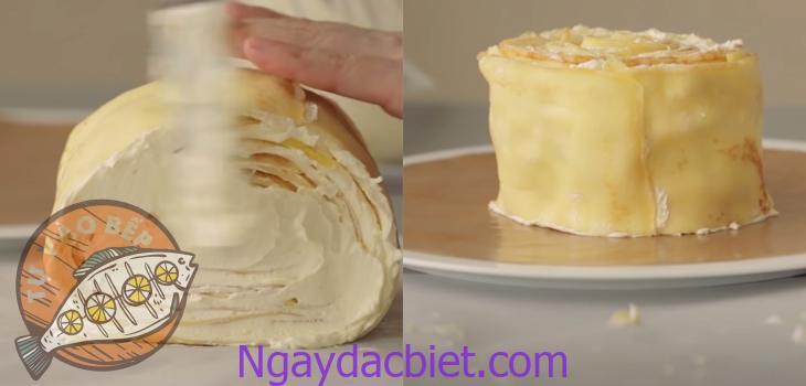 Cuộn chặt tay để tạo thành một chiếc bánh lớn