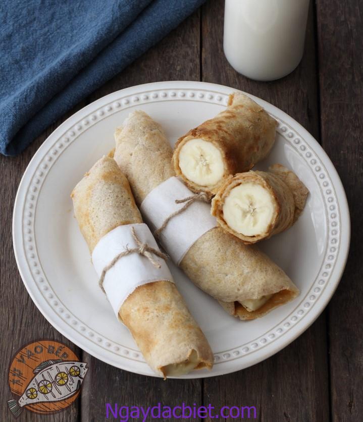 Hướng dẫn cách làm bánh crepe chuối Eat clean