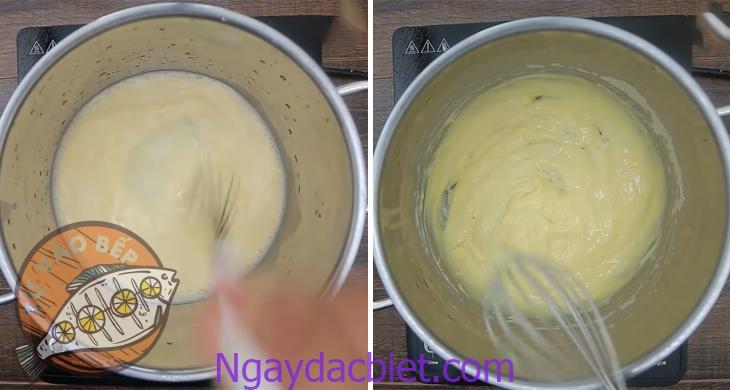 Khuấy kem liên tục cho đến khi hỗn hợp bắt đầu sệt lại thì tắt bếp
