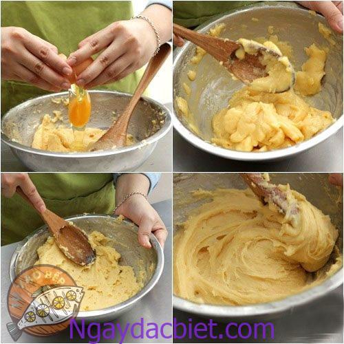 Trộn cho đến khi hỗn hợp nhuyễn và khô đến lúc có giác bánh có thể 'định hình' khi tạo hình