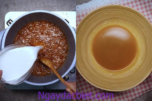 Đun nóng chảy đường thốt nốt tạo màu caramel