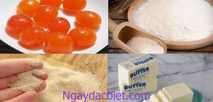 Những nguyên liệu cần chuẩn bị cho món bánh bao nhân thịt trứng muối