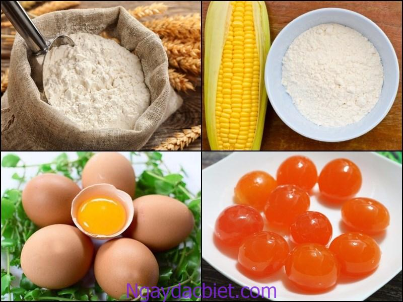 Những nguyên liệu cần chuẩn bị khi thực hiện bánh bông lan trứng muối bằng nồi cơm điện